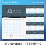calendar for 2016 year. planner ... | Shutterstock .eps vector #436445440