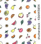 seamless pattern of fruit  pear ... | Shutterstock . vector #436445854