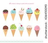 kawaii ice cream cone set. cute ... | Shutterstock .eps vector #436450090
