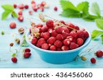 Wild Strawberry In Blue Bowl O...