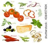 vegetables pizza ingredients... | Shutterstock .eps vector #436457404