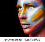 beautiful fashion woman with... | Shutterstock . vector #436465939