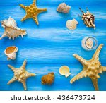 sea frame. different marine... | Shutterstock . vector #436473724