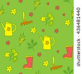 seamless gardening background...   Shutterstock .eps vector #436481440