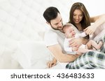 happy family with newborn baby... | Shutterstock . vector #436483633
