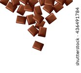 fallen black chocolate bars... | Shutterstock .eps vector #436491784