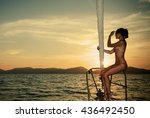 young sexy woman on her private ... | Shutterstock . vector #436492450