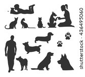 Stock vector set of vector silhouettes of pets 436495060