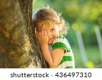 baby is playing hide and seek... | Shutterstock . vector #436497310