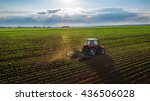 tractor cultivating field at... | Shutterstock . vector #436506028