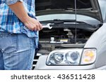 hand with wrench and repair... | Shutterstock . vector #436511428