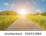 selective focus long wood... | Shutterstock . vector #436511884