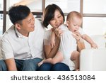 happy asian family playing with ... | Shutterstock . vector #436513084