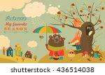 cute animals walking in autumn... | Shutterstock .eps vector #436514038