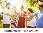 enjoyment food beverage wine... | Shutterstock . vector #436521829