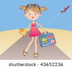Traveling girl with book / travel guide. Vector illustration of a cute girl prepared to have a nice vacation with the company of a good book / travel guide. - stock vector