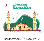 vector   happy ramadan   mosque.... | Shutterstock .eps vector #436524919