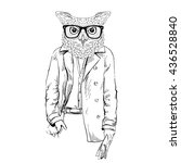 owl man dressed up in trench... | Shutterstock .eps vector #436528840
