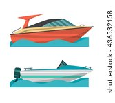 set motor boat and small boat... | Shutterstock .eps vector #436532158
