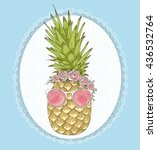 cute hipster pineapple with...   Shutterstock .eps vector #436532764