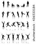 set of twenty four silhouettes... | Shutterstock .eps vector #436533184