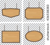 set of vector wooden sign... | Shutterstock .eps vector #436538383