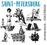 saint petersburg's attractions... | Shutterstock .eps vector #436538626