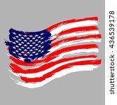 american flag stylized brush... | Shutterstock .eps vector #436539178