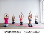 group of people at the gym in a ... | Shutterstock . vector #436543360