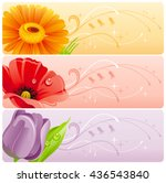 Summer Flowers Banner Set With...