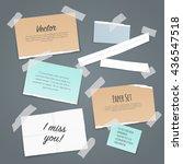 paper set of different scraps... | Shutterstock .eps vector #436547518