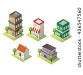 isometric building icon set | Shutterstock .eps vector #436547560