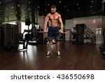 muscular man doing heavy weight ... | Shutterstock . vector #436550698