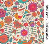 vector flower pattern. colorful ... | Shutterstock .eps vector #436557088