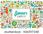 summer set doodle elements.... | Shutterstock .eps vector #436557148
