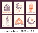 a beautiful greeting card set... | Shutterstock .eps vector #436557754