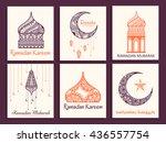 a beautiful greeting card set... | Shutterstock .eps vector #436557754