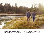 mixed race couple holding hands ... | Shutterstock . vector #436560910