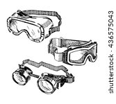 safety goggles hand drawn set.... | Shutterstock .eps vector #436575043