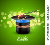magic hat with magic wand....   Shutterstock .eps vector #436583284