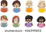cute cartoon children reading... | Shutterstock .eps vector #436599853