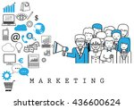 marketing team on white... | Shutterstock .eps vector #436600624