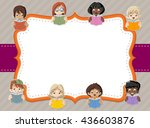 card with cartoon student... | Shutterstock .eps vector #436603876