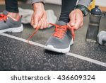 running footwear close up. gym... | Shutterstock . vector #436609324