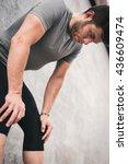 tired urban fitness man looking ... | Shutterstock . vector #436609474