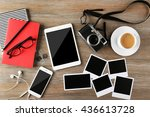 tablet  phone  photos and cup... | Shutterstock . vector #436613728