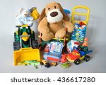 plush and plastic toys isolated ... | Shutterstock . vector #436617280