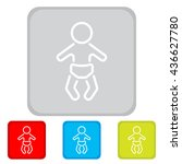 web line icon. baby in a diaper | Shutterstock .eps vector #436627780