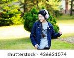 fashion adorable school aged... | Shutterstock . vector #436631074