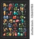 alphabet with funny monsters | Shutterstock .eps vector #436643983